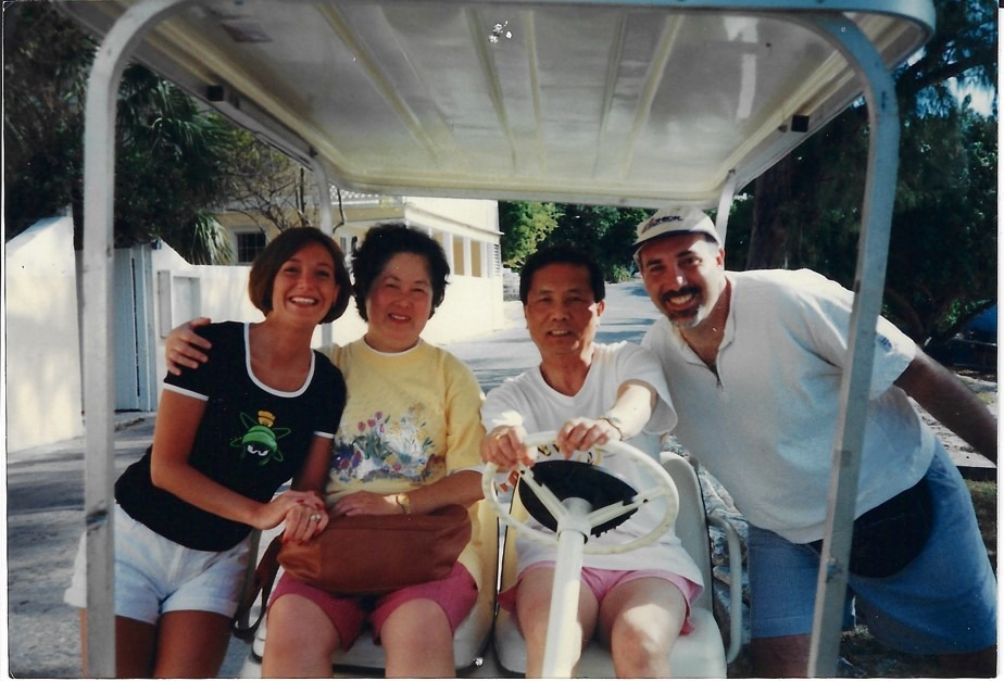 Left to Right: Dr. Adriana Correa, Betty Lin, Dr. Louis M Lin, Dr. Marc Gimbel in 1999 on the Island of Eluthera in the Bahamas